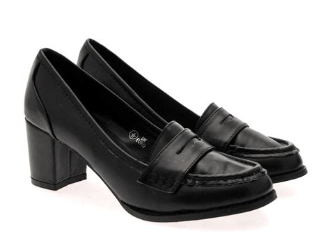 loafer heels shoes womens low block heels work loafer toe court shoes