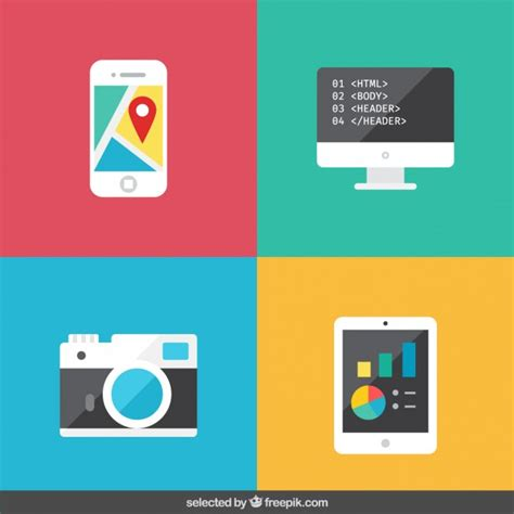 design gadgets gadget collection in flat design vector free download