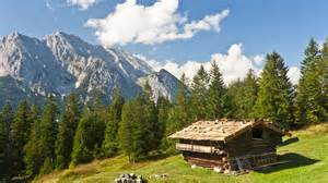 alps buildings cabin forests landscapes mountains nature