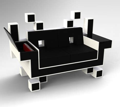 space invader couch geek chic space invader couch and donkey kong shelves
