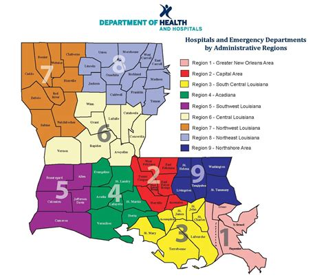 louisiana hospitals map hospitals by administrative regions department of health
