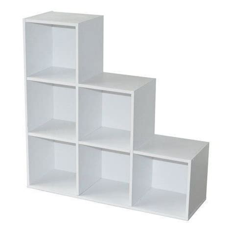 White Wooden 1 2 3 Tier Step 6 Cube Bookcase Display 6 Cube Bookcase White