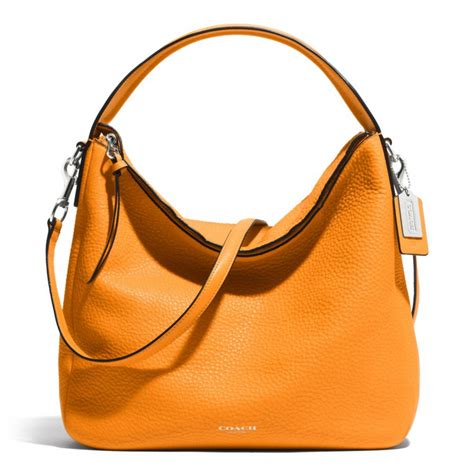 Coach And Their Coach Handbags by Coach Bleecker Sullivan Hobo In Pebbled Leather In Orange