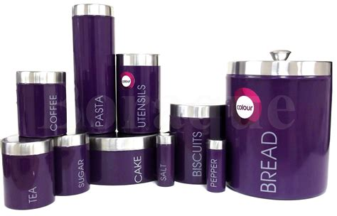 purple canisters for the kitchen purple enamel stainless steel tea coffee sugar