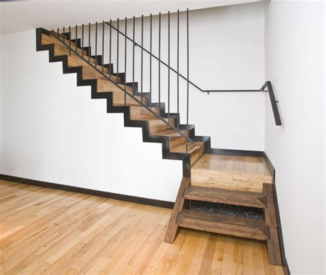 wood banisters for stairs stair modern wood stair design with heart pine treads and