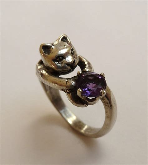 sterling silver three dimensional cat ring with 6mm