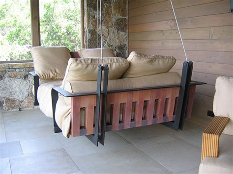 outdoor swing couch dishfunctional designs this ain t yer grandma s porch