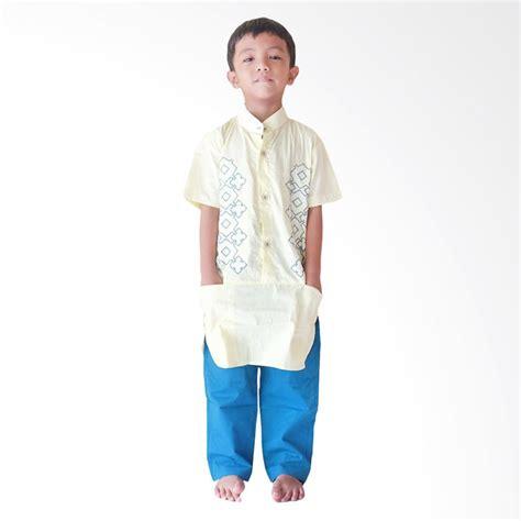 Setelan Koko Biru jual rafifa lengan pendek setelan baju koko anak kuning