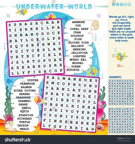 printable zigzag word search puzzles underwater world zigzag word search puzzle stock vector