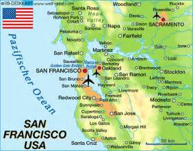 San Francisco On A World Map by Map Of San Francisco United States Usa Map In The