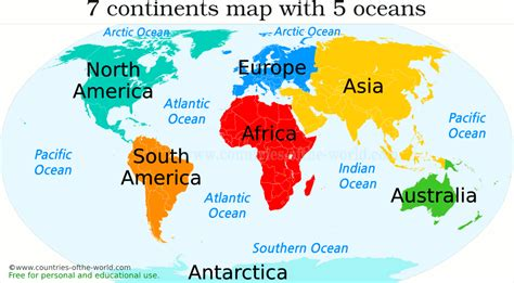 7 continents of the world and their countries