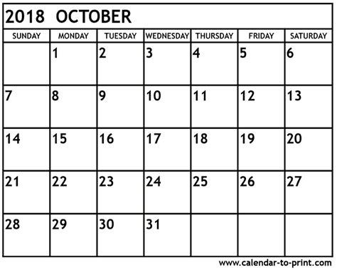 Calendar October 2018 October 2018 Calendar Printable