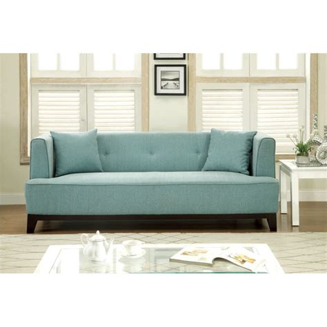 Light Blue Tufted Sofa Furniture Of America Waylin Tufted Fabric Sofa In Light Blue Idf 6761bl Sf