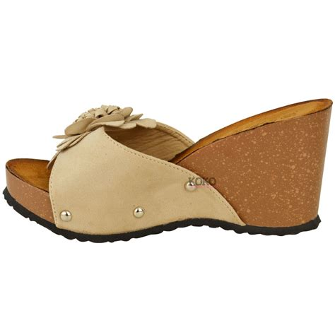 slip on sandals for womens wedge summer mule sandals slip on cushioned