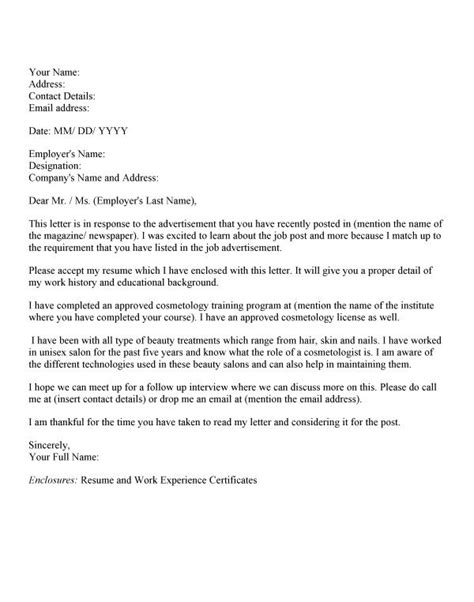 cover letter for esthetician templates cosmetology graduate cover letter cosmetology