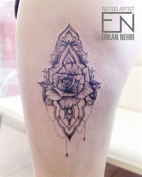 rose chain tattoo best 25 thigh ideas on thigh