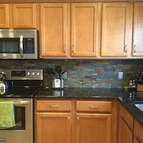 Refinishing Painting Kitchen Cabinets grey countertops and wood cabinets how to make it work