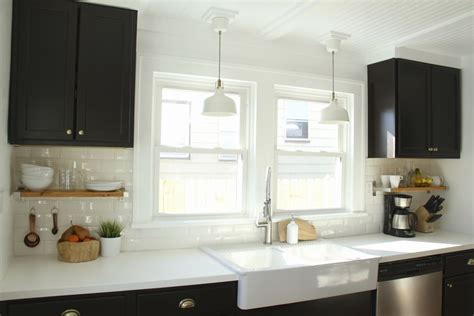 superb Black House With White Trim #2: Black-kitchen-cabinets-with-white-beadboard-ceiling.jpg