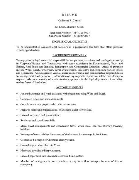 Sle Resume For Back Office Executive by Sle Resume Format For Administrative Assistant 28 Images Sociology Professor Resume Sales