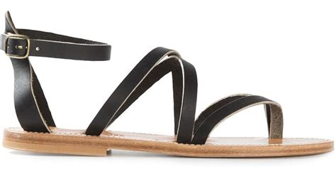 black strappy sandals flat k jacques strappy flat sandals in black lyst