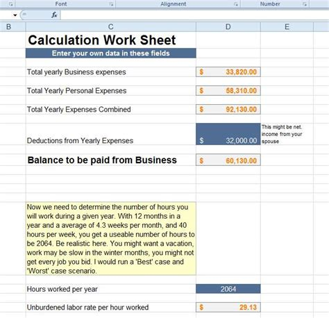 advanced excel know your costs thisiscarpentry