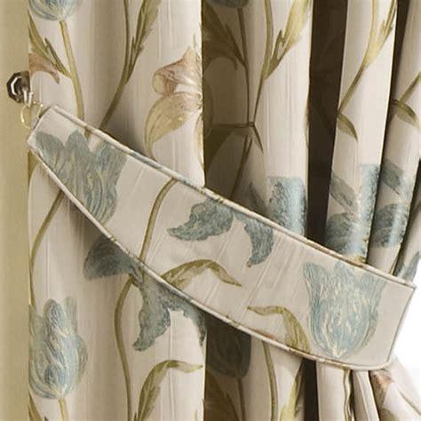 cream curtain tie backs curtains tie backs pair aqua cream floral tapestry design
