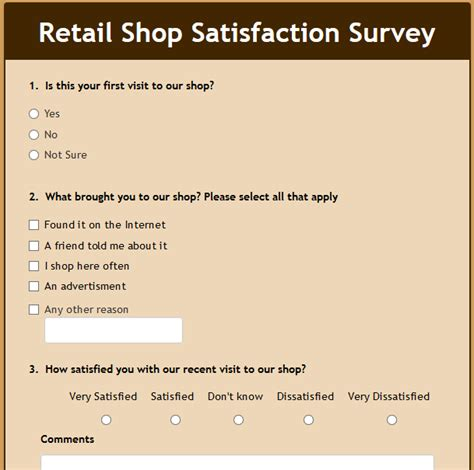 Formwize Exles Retail Store Feedback Form Template