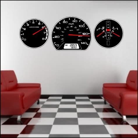 cars wall sticker auto car dashboard gauges wall decal stickers peel and