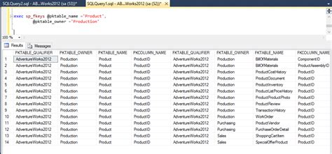 sql server list all tables list primary key and foreign key relationship in database