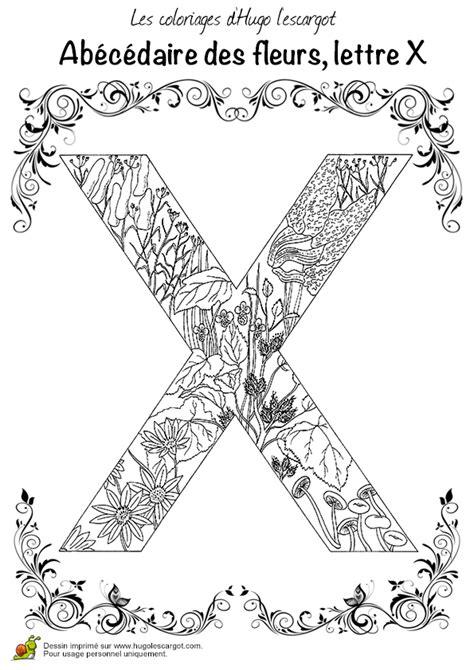 Coloriage abecedaire belles fleurs a lettre x sur