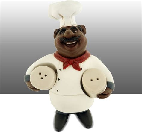 Black Chef Kitchen Decor by Black Chef Kitchen Statue Salt And Pepper Holder Table