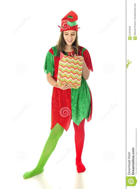 Elf Checking The Gift Bag Stock Photo   Image: 61373018
