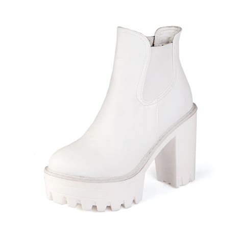 Platform Chunky Heel Boots white chunky heel boots fs heel