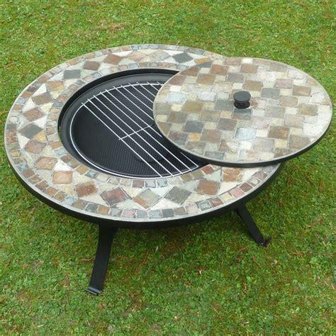 feuerschale mit grillrost feuerkorb feuerschale mit stein mosaik fliesen grillschale
