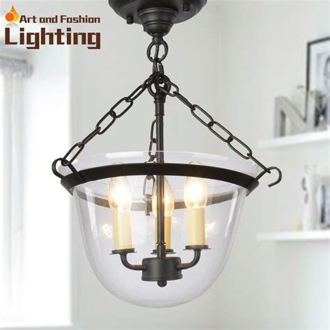 modern iron chain ceiling lights with transparent glass