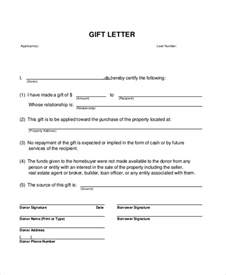Gift Letter Template by Sle Gift Letter 9 Exles In Word Pdf