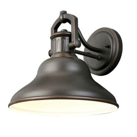 Home Depot Outside Light Fixtures Hton Bay 1 Light Rubbed Bronze Outdoor Wall Lantern Hrr1691a The Home Depot