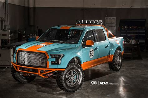 gulf racing truck galpin auto sports shows off their wide body f 150 in gulf