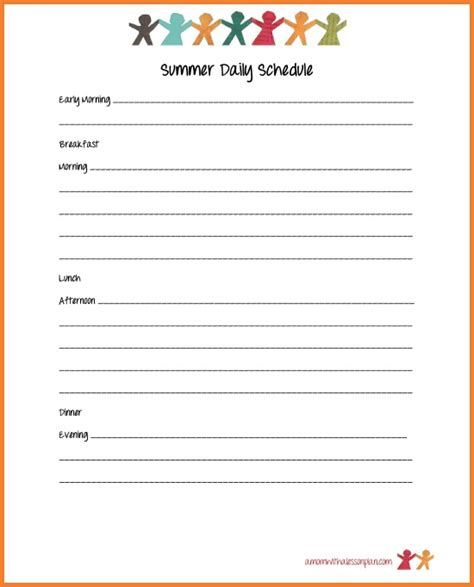 daily summer schedule printable summer schedule for kids and summer goal sheet with free