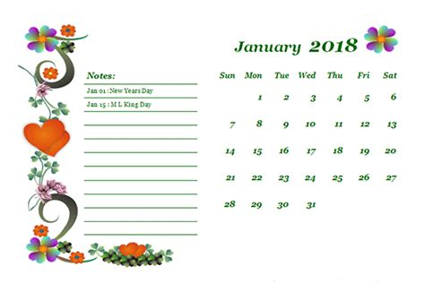 Calendar 2018 Template Design 2018 Monthly Calendar Template Design Free Printable