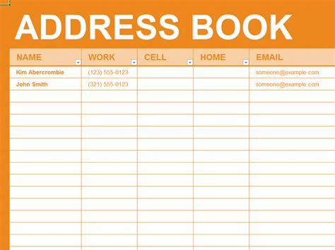 telephone address book template free excel template personal address book organizing