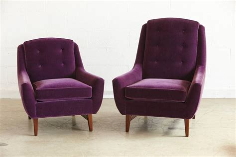purple velvet ottoman pair of adrian pearsall his and hers lounge chairs and