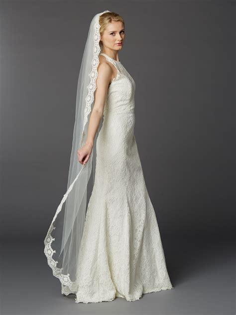 Floor Length Veil Ivory by Wedding Veil Embroidered Mantilla Floor Length