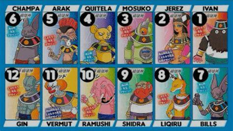 los dioses de cada dbs nombres de los 12 dioses destructores y dise 241 os de la chica saiyajin dragon ball espa 209 ol