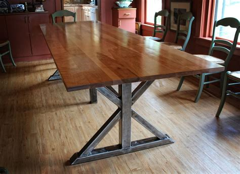Custom Kitchen Table Handmade Birch And Steel Trestle Dining Table By Higgins Fabrication Custommade