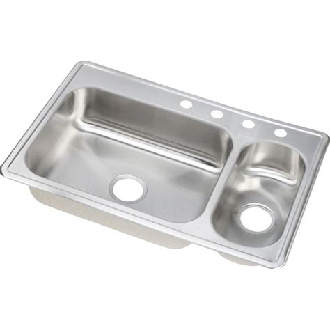 dayton double bowl kitchen elkay dayton drop in stainless steel 33 in 4 hole double