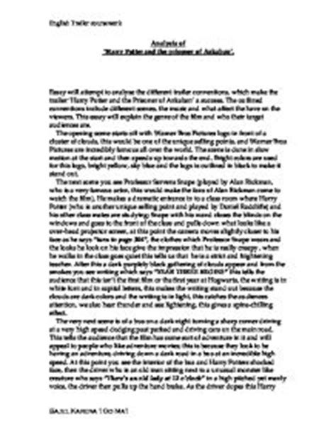 Harry Potter Analysis Essay by Analysis Of Harry Potter And The Prisoner Of Azkaban Gcse Media Studies Marked By