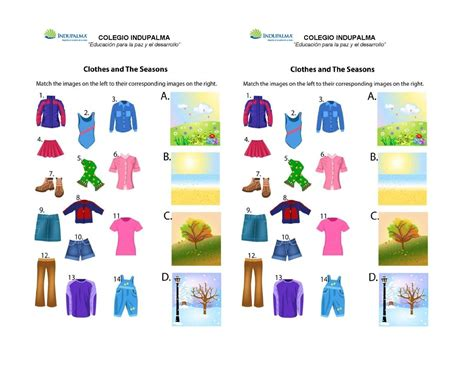clothes for different seasons worksheet calam 233 o clothes and the seasons