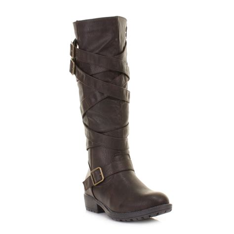 womens brown flat biker knee high chunky