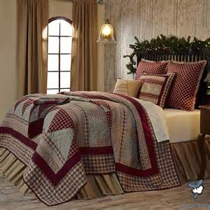 Red green plaid holiday christmas tree country home quilt bedding set